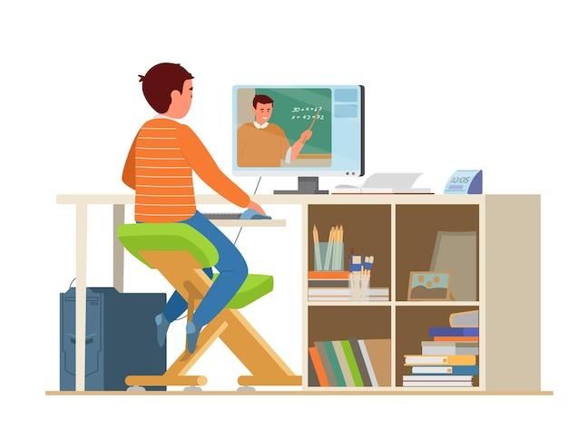 Écolier élémentaire étudiant les mathématiques en ligne