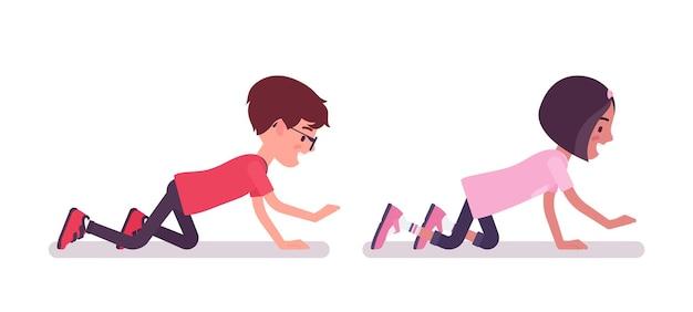 Écolier, fille jouant en rampant sur les mains et les genoux, rampant