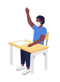 Écolier en masque au caractère de vecteur de couleur semi-plat de leçon
