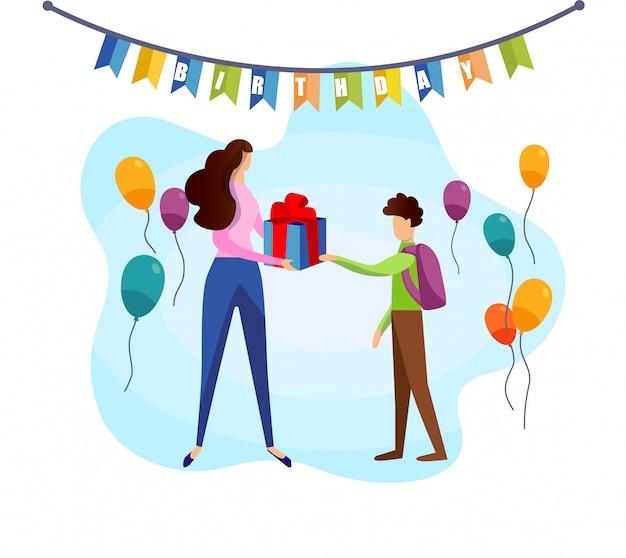 Écolier, prendre, boîte cadeau anniversaire, de, main mère