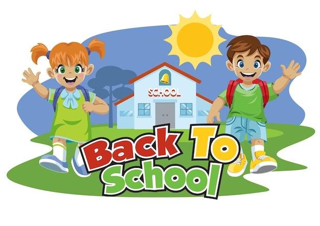 Écolier, retour, école, dessin animé, ensemble