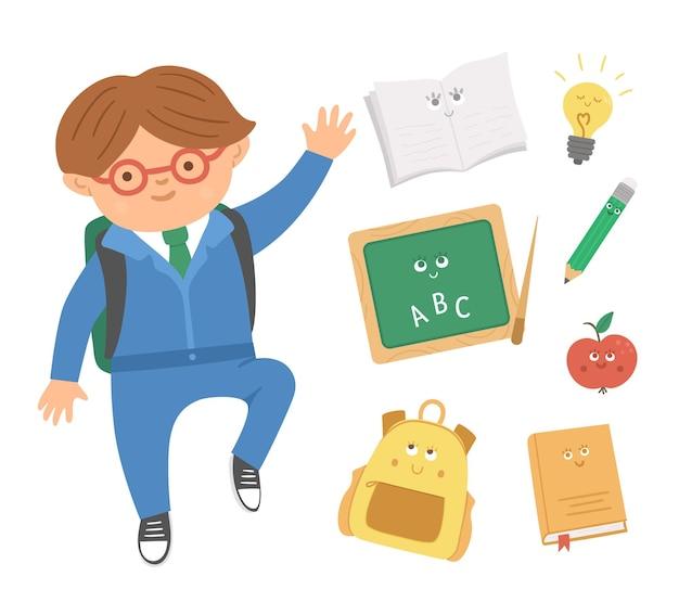 Écolier sautant heureux mignon avec des objets de classe kawaii de style plat. retour au vecteur de l'école