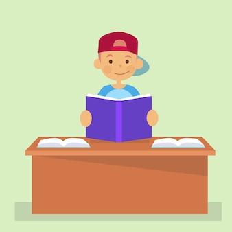 Écolier, séance, bureau, tenue, lecture livre