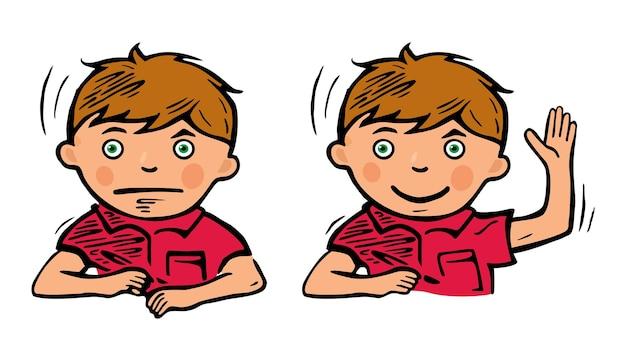 Un écolier avec un stylo à la main réfléchit à une tâche. illustration de couleur vectorielle isolée sur fond blanc