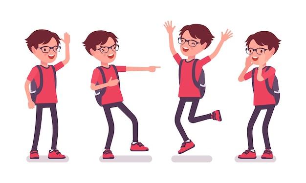 Écolier en tenue décontractée dans les émotions positives. joli petit gars à lunettes avec sac à dos, jeune enfant actif, élève élémentaire intelligent âgé de 7 à 9 ans. illustration de dessin animé de style plat de vecteur