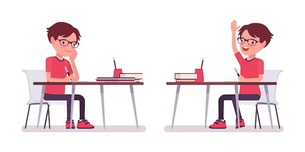 Écolier en tenue décontractée étudiant au bureau mignon petit gars dans des verres avec des livres, jeune enfant actif, élève élémentaire intelligent âgé de 7 à 9 ans. illustration de dessin animé de style plat de vecteur