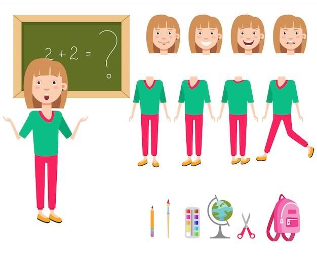 Écolière confuse au jeu de caractères de tableau