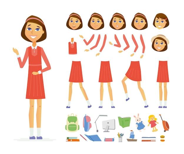 Écolière - constructeur de personnage de dessin animé vecteur personnes isolé sur fond blanc. ensemble de différentes expressions faciales, poses, gestes pour l'animation. beaucoup d'objets scolaires, livres, ordinateur, jouets
