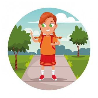 Écolière, dessin animé, sac à dos
