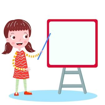 Écolière sur l'illustration vectorielle conseil