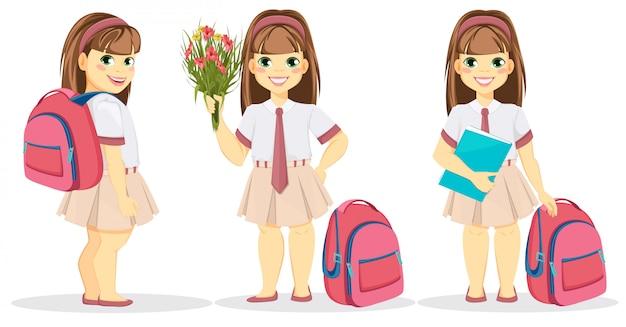Écolière avec sac à dos