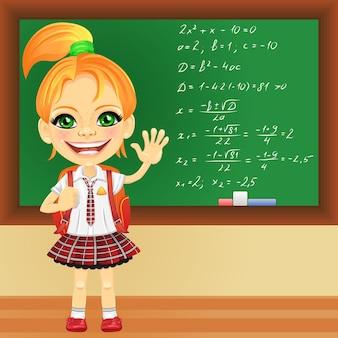 Écolière souriante de vecteur près du tableau noir