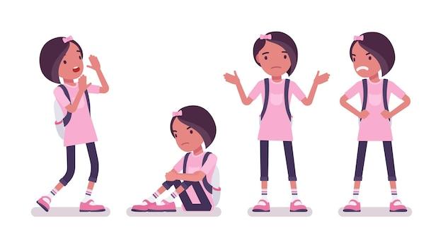 Écolière en tenue décontractée, émotions négatives