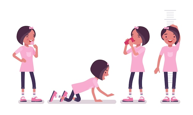 Écolière en tenue décontractée s'amusant. jolie petite dame en t-shirt rose après les cours, jeune enfant actif, élève du primaire intelligent âgé de 7 à 9 ans. illustration de dessin animé de style plat de vecteur