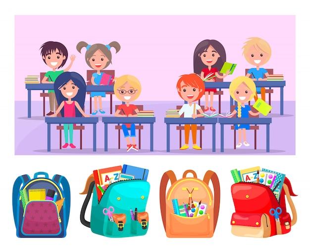 Écoliers heureux assis au bureau, sacs de rangement