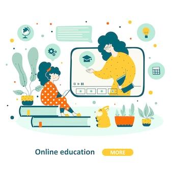 Écoliers en ligne au design plat