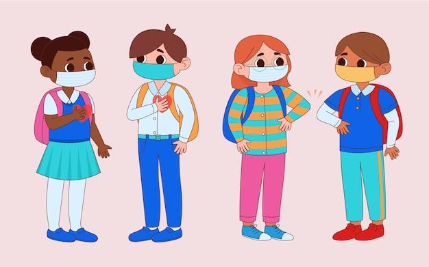 Les écoliers saluent dans la nouvelle normalité