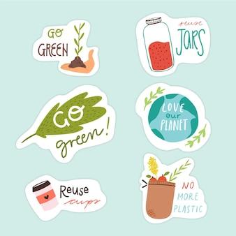 Écologie badges design dessiné à la main