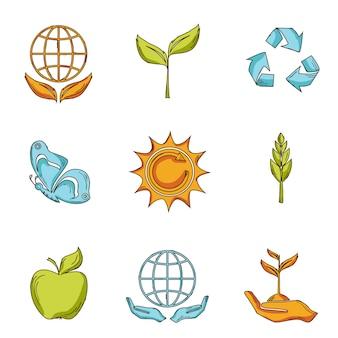 Écologie et déchets icônes mis en croquis