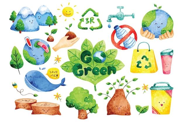 Écologie doodles dans un style aquarelle