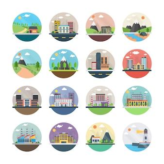 Écologie, industrie, ville et icônes plates de campagne