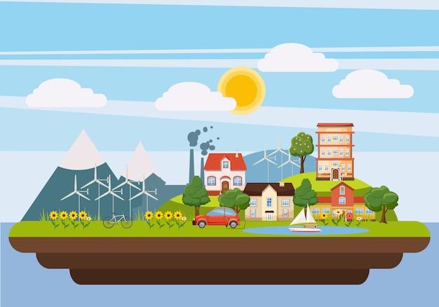 Ecologie paysage iland concept, style cartoon