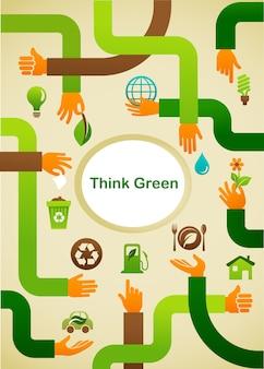 Écologie - pensez fond vert avec les mains et le symbole graphique