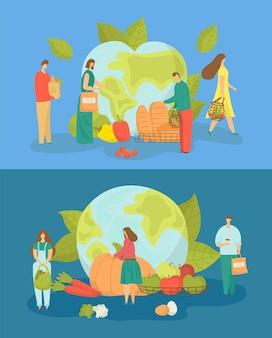 L'écologie de la planète se soucie de l'illustration vectorielle de l'environnement de la terre, des personnes minuscules et plates utilisent un sac écologique recyclé...