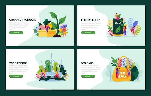 Écologie et sauvegarde de la nature collection de bannières avec bouton et texte cliquables