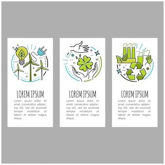 Écologie, technologie verte, bio, bio. bannière de dessin animé sertie d'icônes de fine ligne