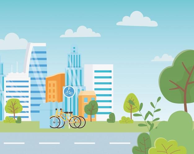 Écologie urbaine parking vélos transport cityscape rue arbres herbe