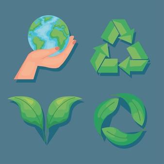 Écologique quatre icônes