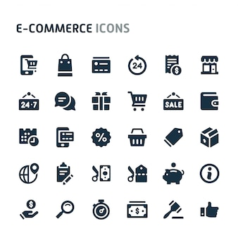Ecommerce icon set. série d'icônes fillio black.