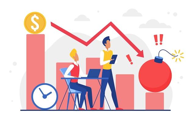 Économie d'entreprise dommages futurs tempête financière équipe d'hommes d'affaires regardant la flèche tomber