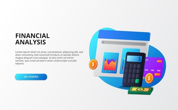 Économie de marché de croissance, analyse et audit et concept d'entreprise de financement de conseil. calculatrice 3d, pièce de monnaie, argent, graphique, carte de crédit pour modèle de page de destination