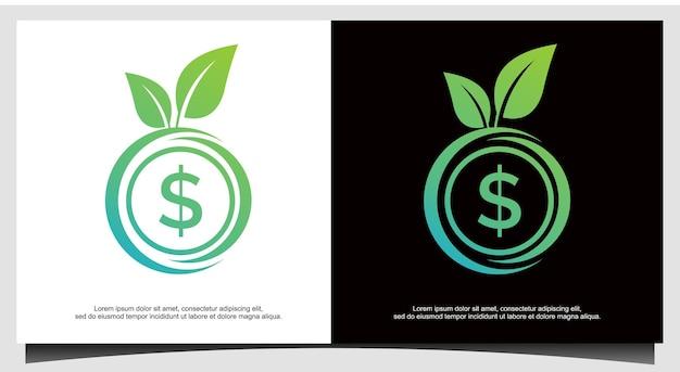 Économie de prix d'argent financier de devise de dollar de cercle avec le symbole de logo d'icône de vecteur d'image verte de feuille