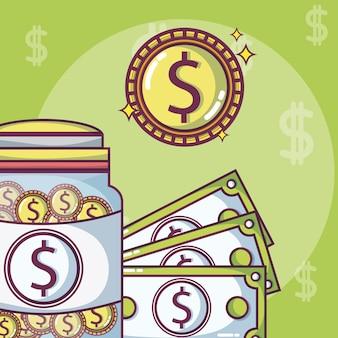 Économies d'argent dans une bouteille en verre