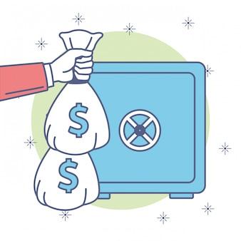 Économies d'argent dans le coffre-fort