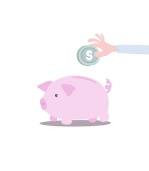 Économiser de l'argent dans une tirelire aux couleurs pastel et au style enfant