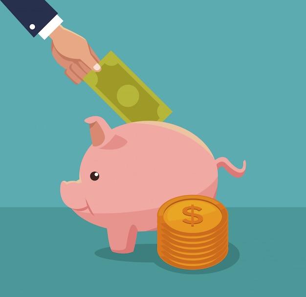 Économiser de l'argent à la main