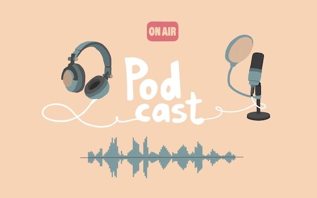 Économiseur D'écran De Podcasts Flux Audio Radio Studio Microphone Casque Bande Son à L'antenne Vecteur Premium