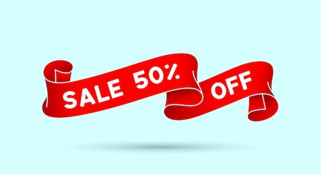 Économisez 50%. ruban vintage rouge avec texte économisez 50%. bannière vintage rouge avec ruban, graphisme. élément dessiné à la main de la vieille école pour la conception - bannière, affiche. illustration vectorielle