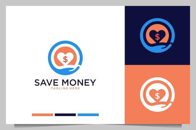 Économisez de l'argent avec la conception de logo de main et d'amour