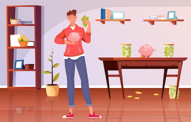 Économisez de l'argent en investissant dans une composition à plat avec un décor intérieur de maison et un personnage masculin mettant des billets dans une boîte