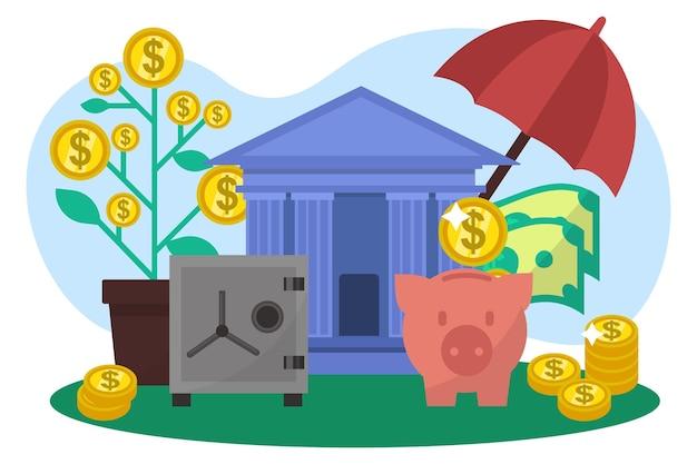 Économisez de l'argent personnel en espèces, une tirelire en dollars se tient près de la pièce d'or et de la monnaie augmente la richesse à plat ...