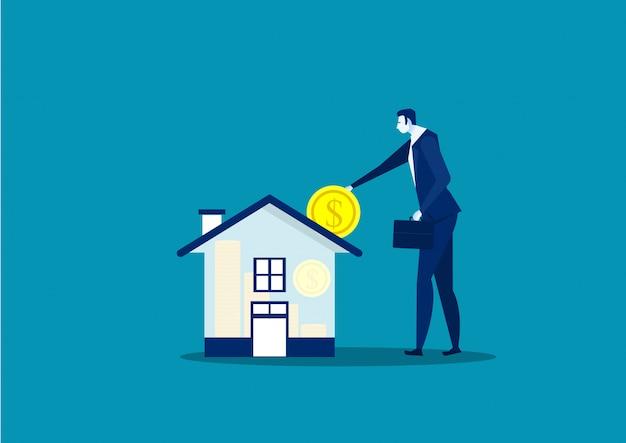Économisez de l'argent pour la maison par homme d'affaires