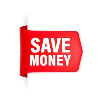 Économisez de l'argent ruban rouge
