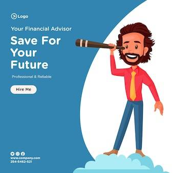 Économisez pour la conception de votre future bannière avec un conseiller financier tenant un télescope à la main