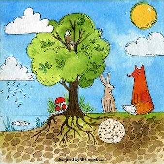 Ecosystème dessiné à la main et concept nature