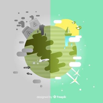 Ecosystème plat et concept de pollution